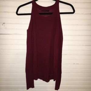 OLIVACEOUS RED COLD SHOULDER LONG SLEEVES KNIT TOP